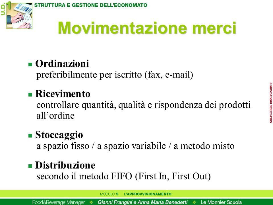 Movimentazione merci Ordinazioni preferibilmente per iscritto (fax, e-mail)