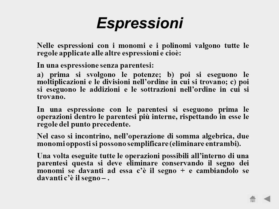Espressioni Nelle espressioni con i monomi e i polinomi valgono tutte le regole applicate alle altre espressioni e cioè: