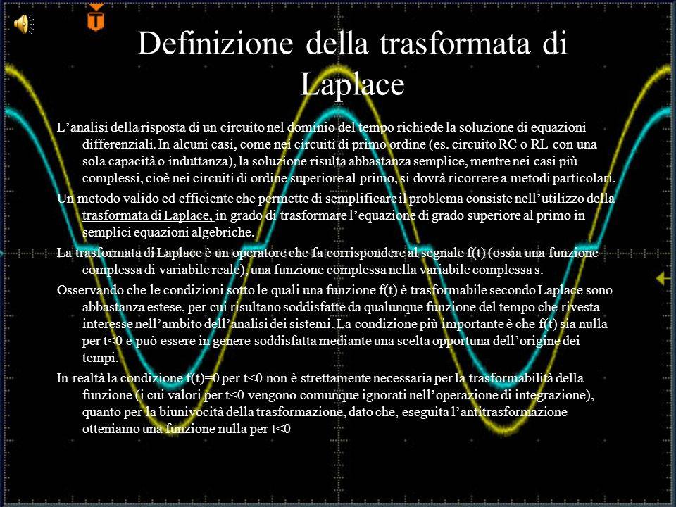 Definizione della trasformata di Laplace