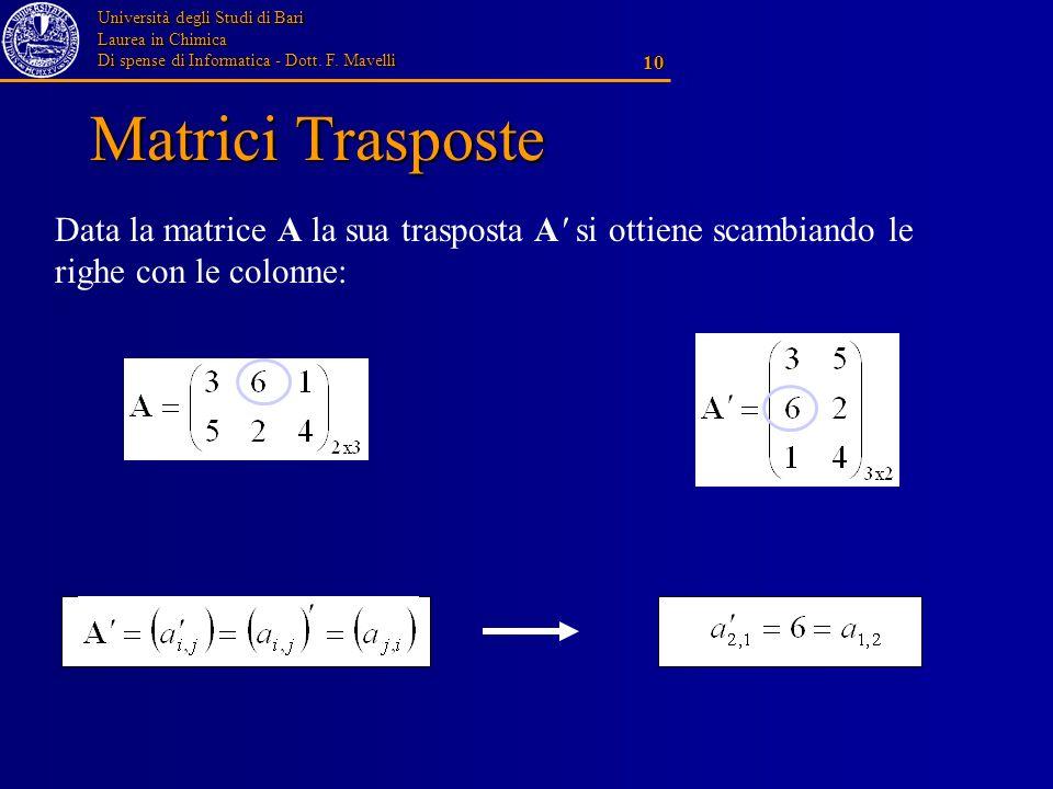 Matrici Trasposte Data la matrice A la sua trasposta A si ottiene scambiando le righe con le colonne: