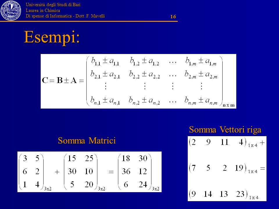Esempi: Somma Vettori riga Somma Matrici