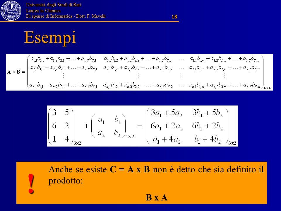 Esempi Anche se esiste C = A x B non è detto che sia definito il prodotto: B x A !