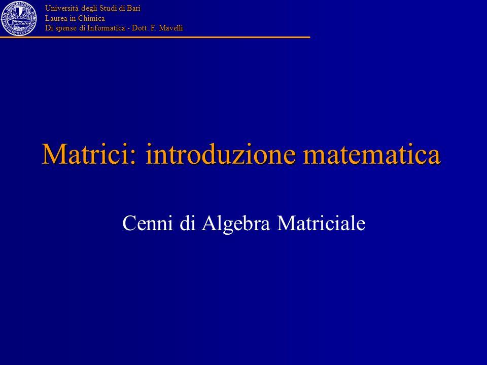 Matrici: introduzione matematica
