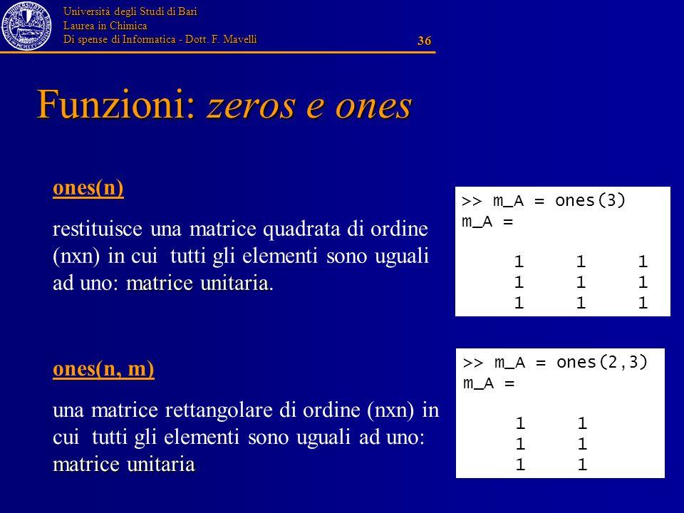 Funzioni: zeros e ones ones(n)