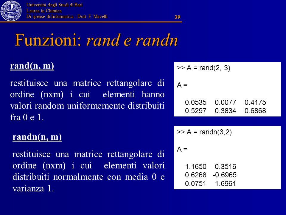 Funzioni: rand e randn rand(n, m)