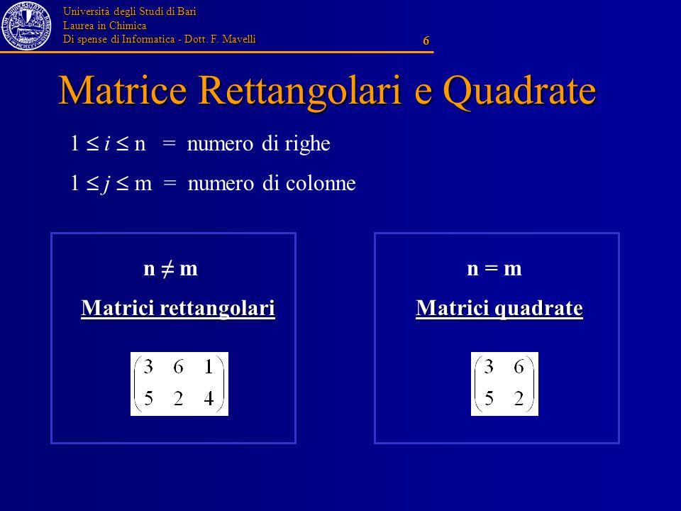 Matrice Rettangolari e Quadrate