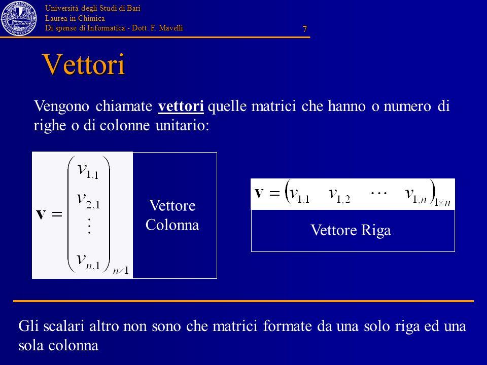 Vettori Vengono chiamate vettori quelle matrici che hanno o numero di righe o di colonne unitario: Vettore Colonna.