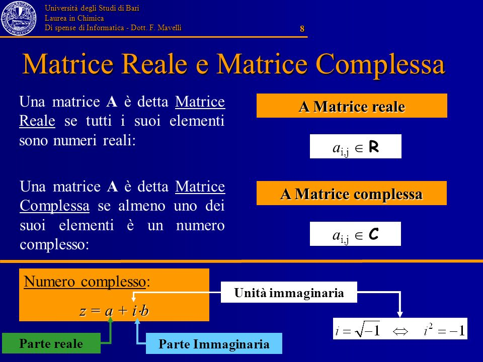 Matrice Reale e Matrice Complessa