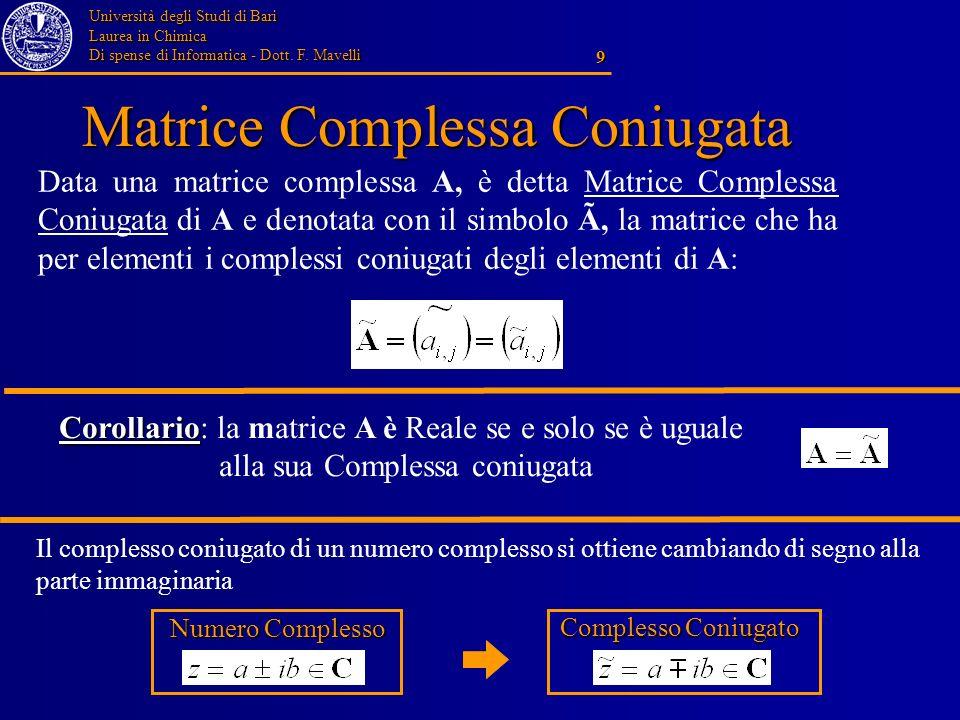 Matrice Complessa Coniugata