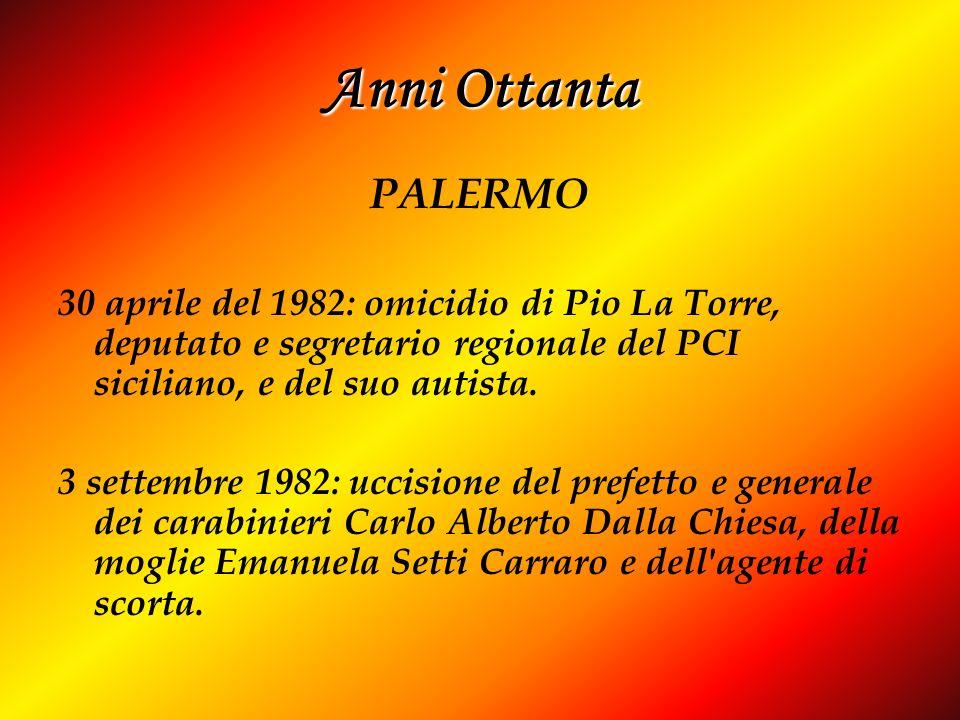 Anni Ottanta PALERMO. 30 aprile del 1982: omicidio di Pio La Torre, deputato e segretario regionale del PCI siciliano, e del suo autista.