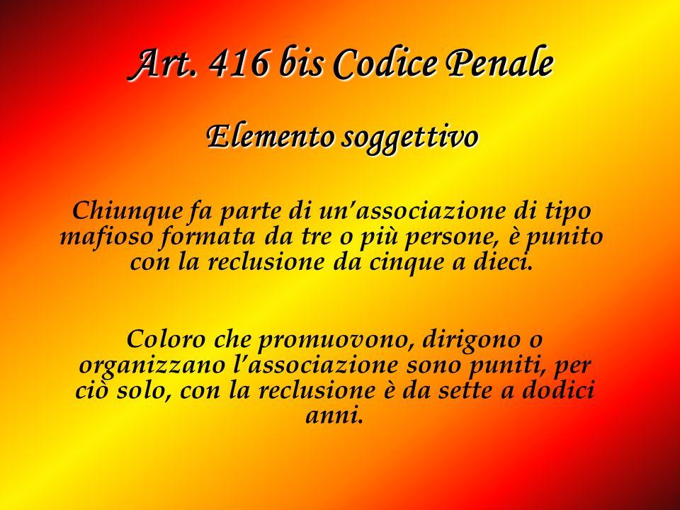 Art. 416 bis Codice Penale Elemento soggettivo