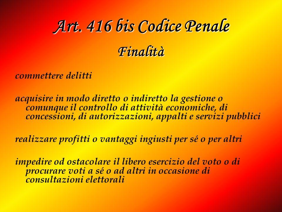 Art. 416 bis Codice Penale Finalità commettere delitti