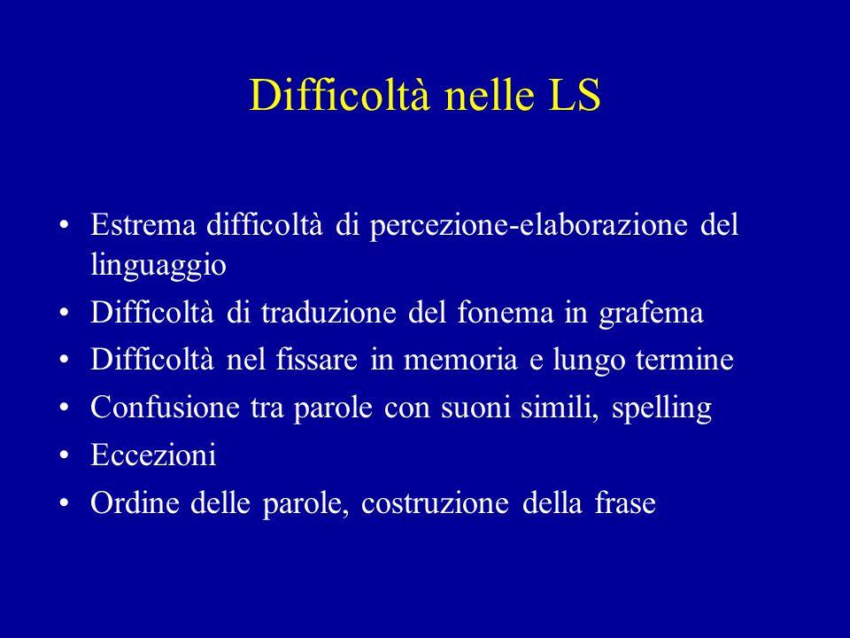 Difficoltà nelle LS Estrema difficoltà di percezione-elaborazione del linguaggio. Difficoltà di traduzione del fonema in grafema.