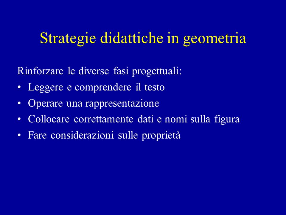 Strategie didattiche in geometria