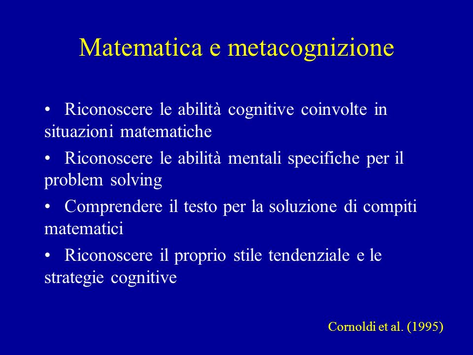 Matematica e metacognizione