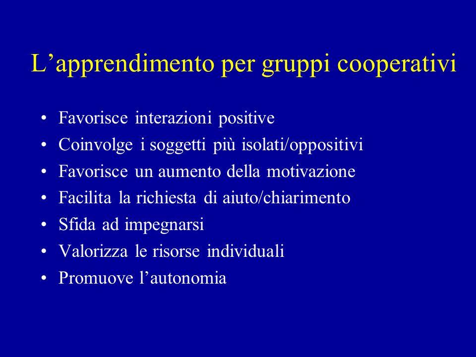 L'apprendimento per gruppi cooperativi