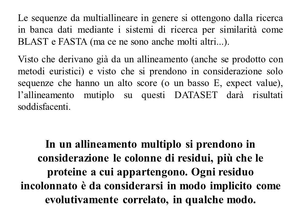 Le sequenze da multiallineare in genere si ottengono dalla ricerca in banca dati mediante i sistemi di ricerca per similarità come BLAST e FASTA (ma ce ne sono anche molti altri...).