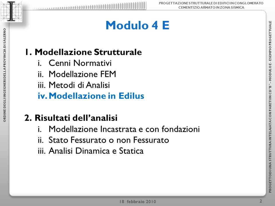 Modulo 4 E Modellazione Strutturale Cenni Normativi Modellazione FEM