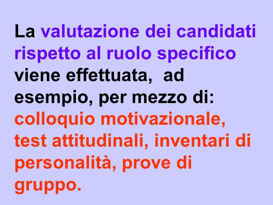 La valutazione dei candidati rispetto al ruolo specifico viene effettuata, ad esempio, per mezzo di: colloquio motivazionale, test attitudinali, inventari di personalità, prove di gruppo.