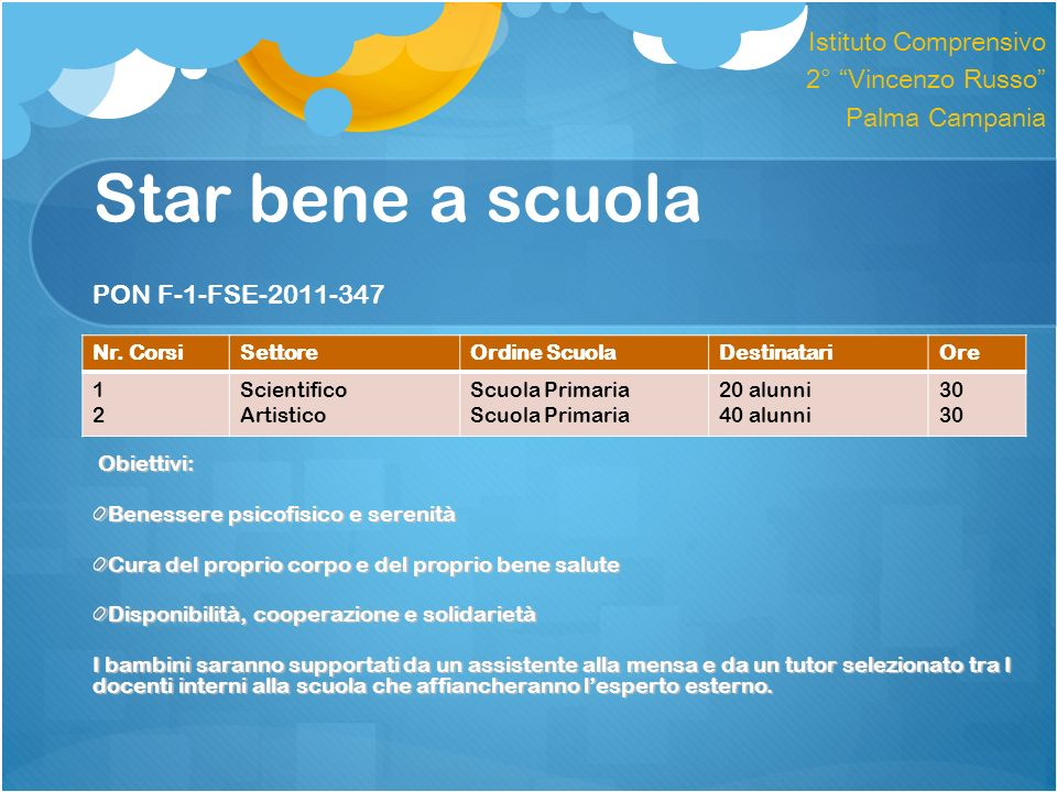 Star bene a scuola PON F-1-FSE-2011-347