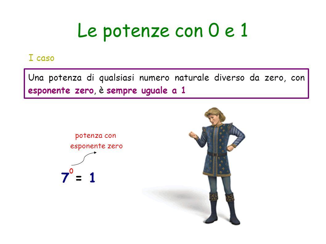 Le potenze con 0 e 1 I caso. Una potenza di qualsiasi numero naturale diverso da zero, con esponente zero, è sempre uguale a 1.