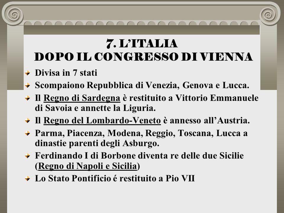 7. L'ITALIA DOPO IL CONGRESSO DI VIENNA