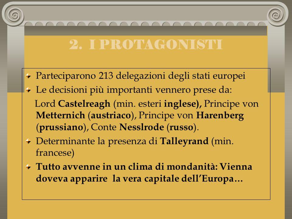 2. I PROTAGONISTI Parteciparono 213 delegazioni degli stati europei