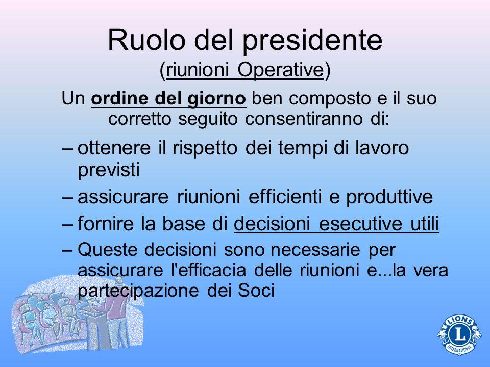 Ruolo del presidente (riunioni Operative)