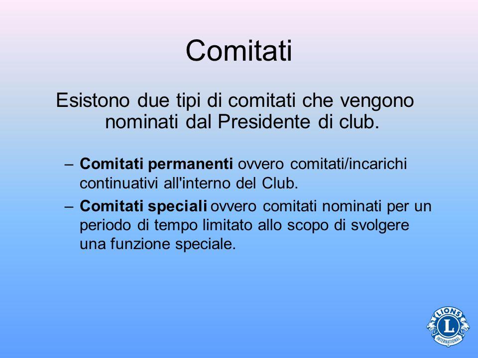 Comitati Esistono due tipi di comitati che vengono nominati dal Presidente di club.