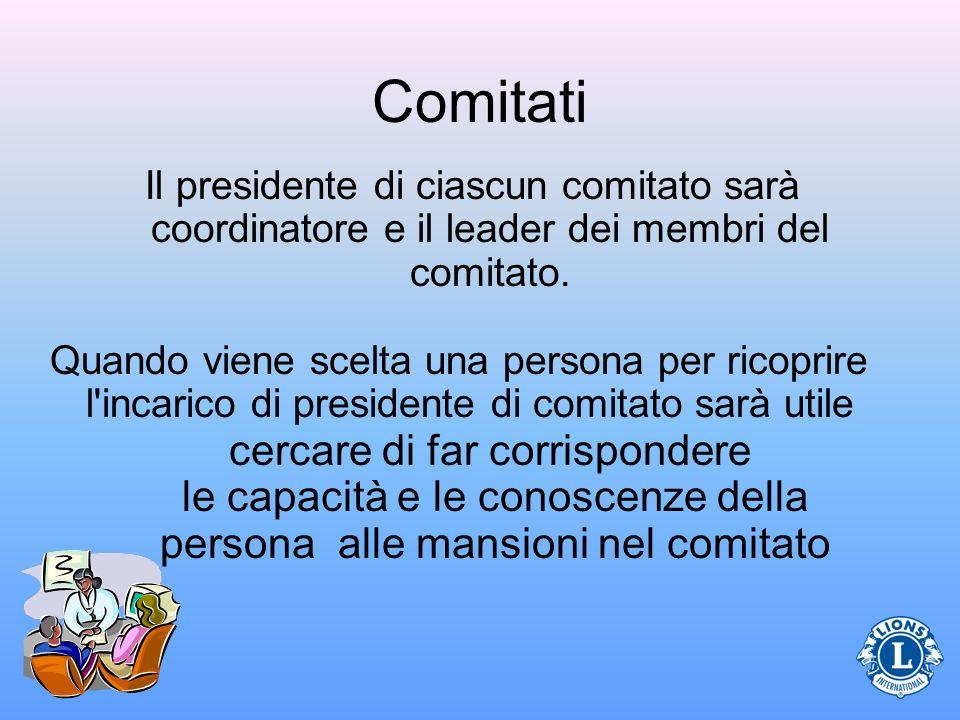 Comitati Il presidente di ciascun comitato sarà coordinatore e il leader dei membri del comitato.