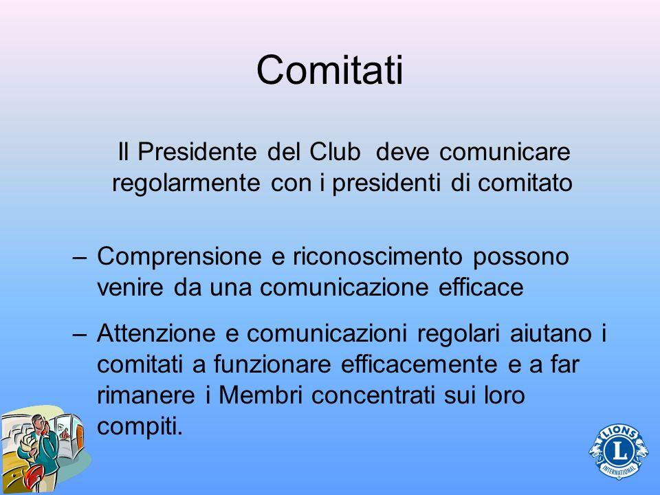 Comitati Il Presidente del Club deve comunicare regolarmente con i presidenti di comitato.