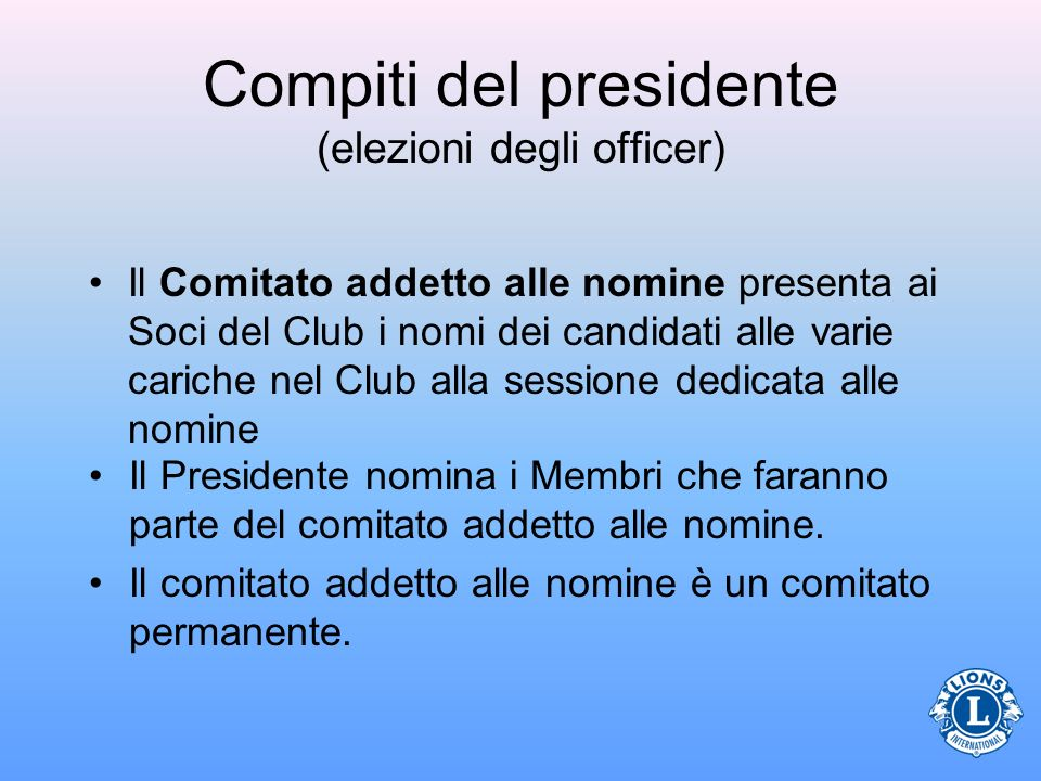 Compiti del presidente (elezioni degli officer)