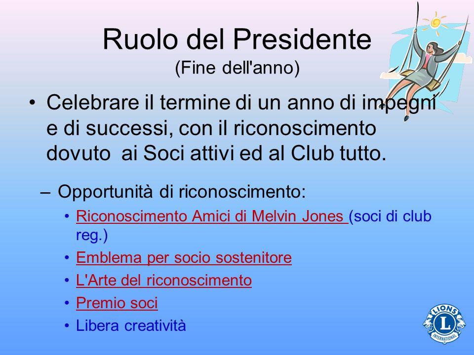 Ruolo del Presidente (Fine dell anno)