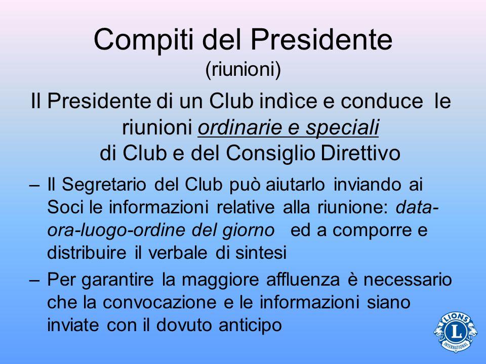 Compiti del Presidente (riunioni)