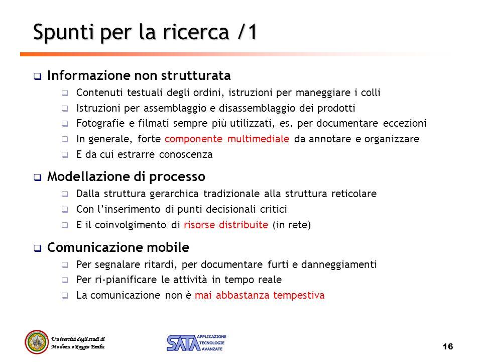 Spunti per la ricerca /1 Informazione non strutturata