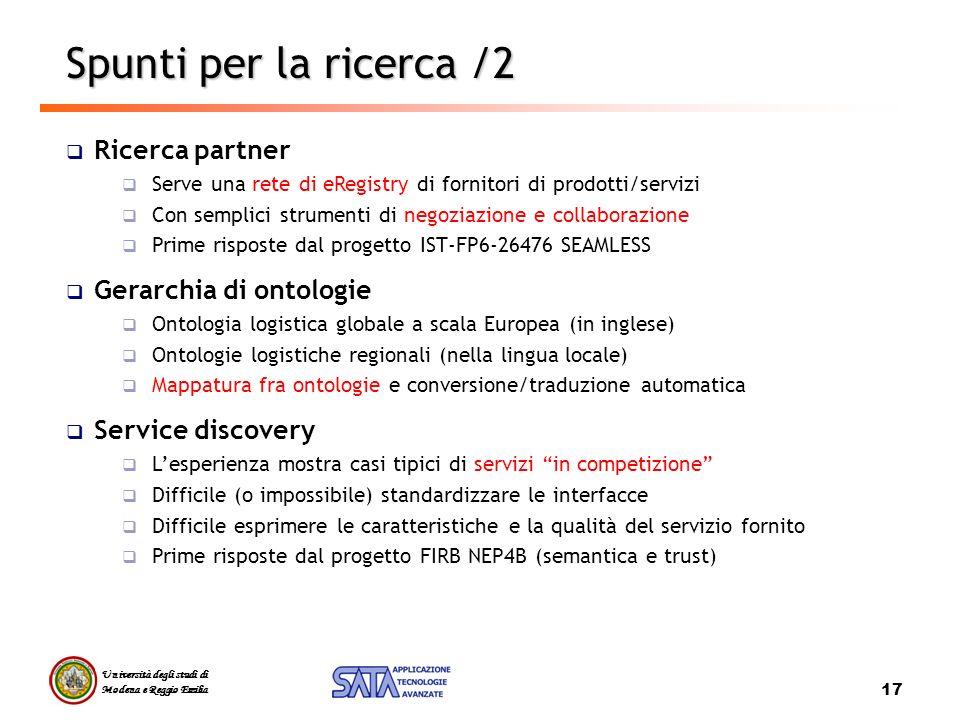 Spunti per la ricerca /2 Ricerca partner Gerarchia di ontologie