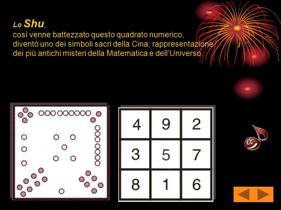 Lo Shu, così venne battezzato questo quadrato numerico, diventò uno dei simboli sacri della Cina, rappresentazione dei più antichi misteri della Matematica e dell'Universo.