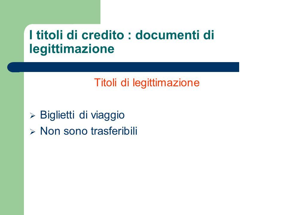 I titoli di credito : documenti di legittimazione