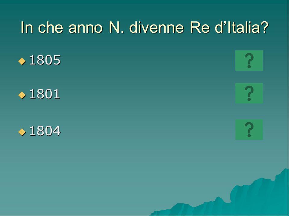 In che anno N. divenne Re d'Italia