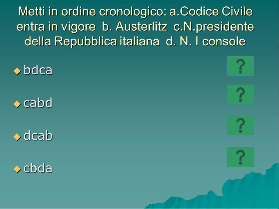 Metti in ordine cronologico: a. Codice Civile entra in vigore b