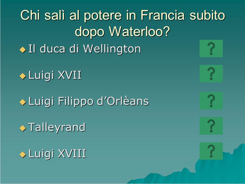 Chi salì al potere in Francia subito dopo Waterloo