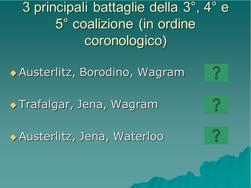 3 principali battaglie della 3°, 4° e 5° coalizione (in ordine coronologico)