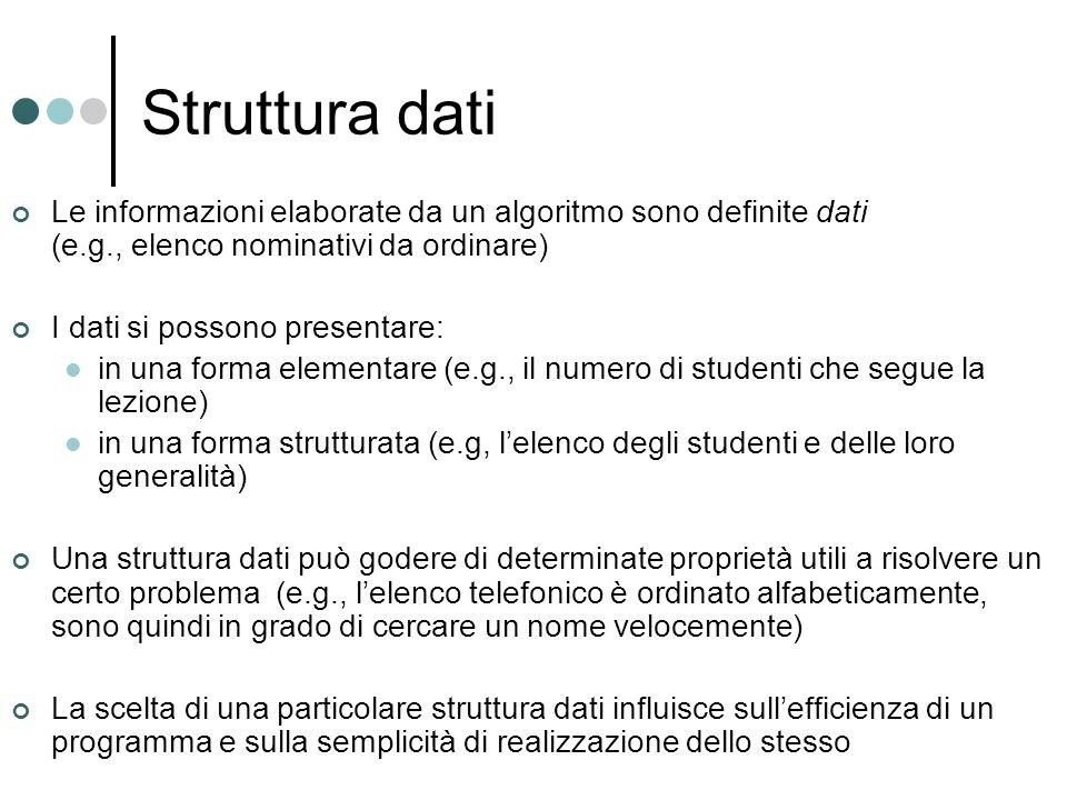 Struttura dati Le informazioni elaborate da un algoritmo sono definite dati (e.g., elenco nominativi da ordinare)