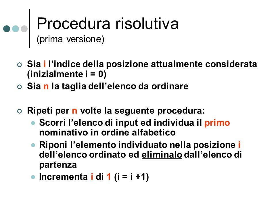 Procedura risolutiva (prima versione)