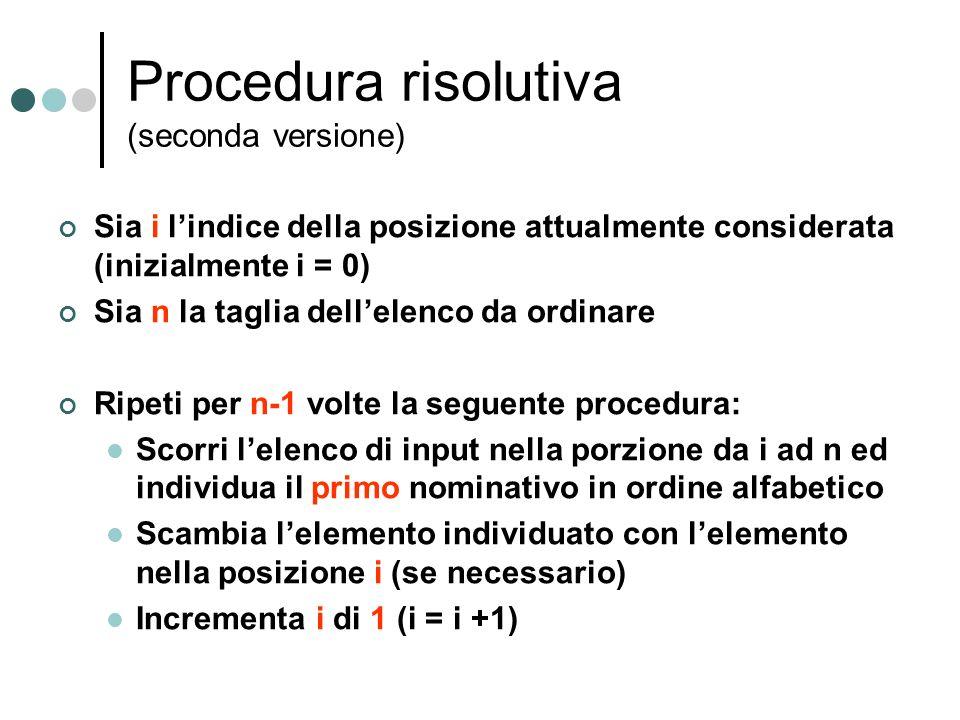 Procedura risolutiva (seconda versione)
