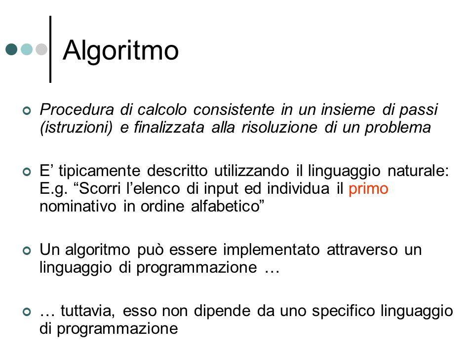 Algoritmo Procedura di calcolo consistente in un insieme di passi (istruzioni) e finalizzata alla risoluzione di un problema.