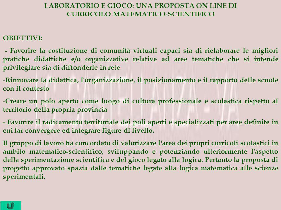 LABORATORIO E GIOCO: UNA PROPOSTA ON LINE DI CURRICOLO MATEMATICO-SCIENTIFICO
