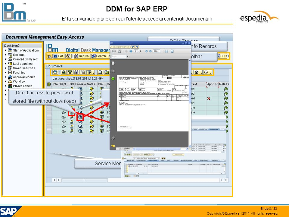 DDM for SAP ERP E' la scrivania digitale con cui l utente accede ai contenuti documentali. DDM Toolbar.