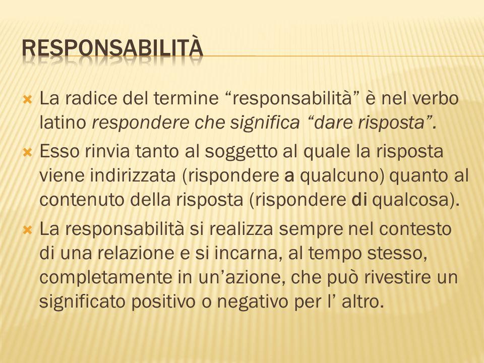 responsabilità La radice del termine responsabilità è nel verbo latino respondere che significa dare risposta .