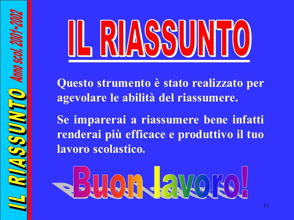 IL RIASSUNTO Anno scol. 2001~2002 IL RIASSUNTO Buon lavoro!